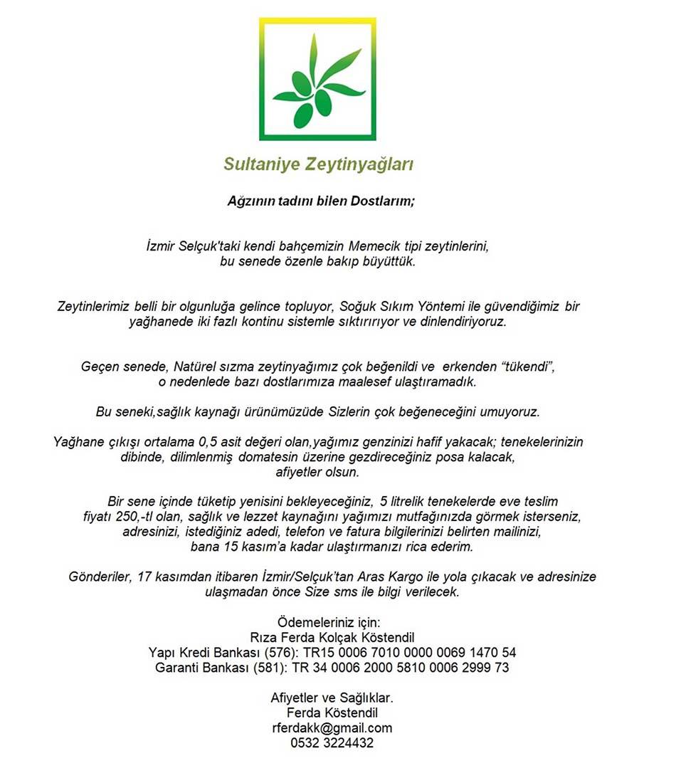 Sultaniye Zeytinyağları 2020